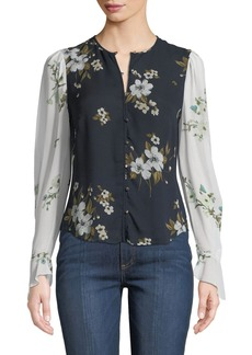 Joie Abboid Floral Silk Long-Sleeve Top