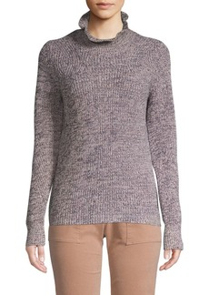 Joie Adaliz Ruffled-Mockneck Cotton Cashmere Sweater