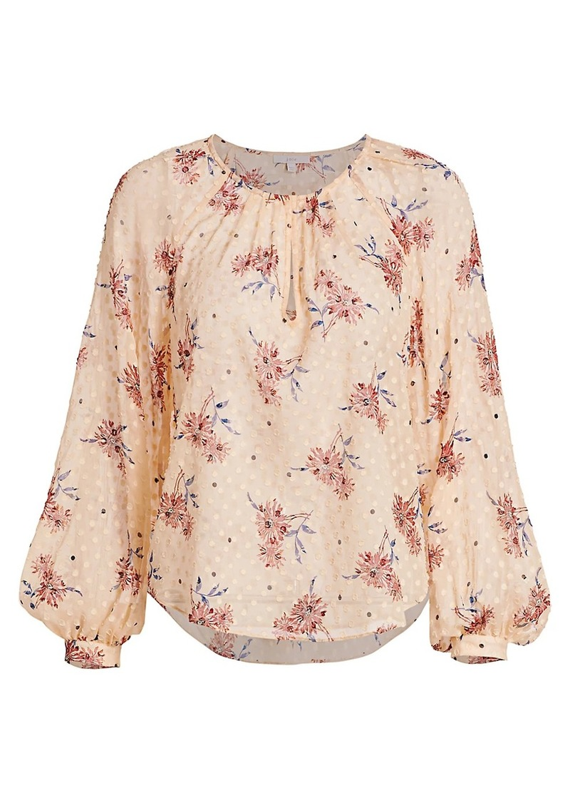 Joie Adison Dotted Floral Peasant Blouse