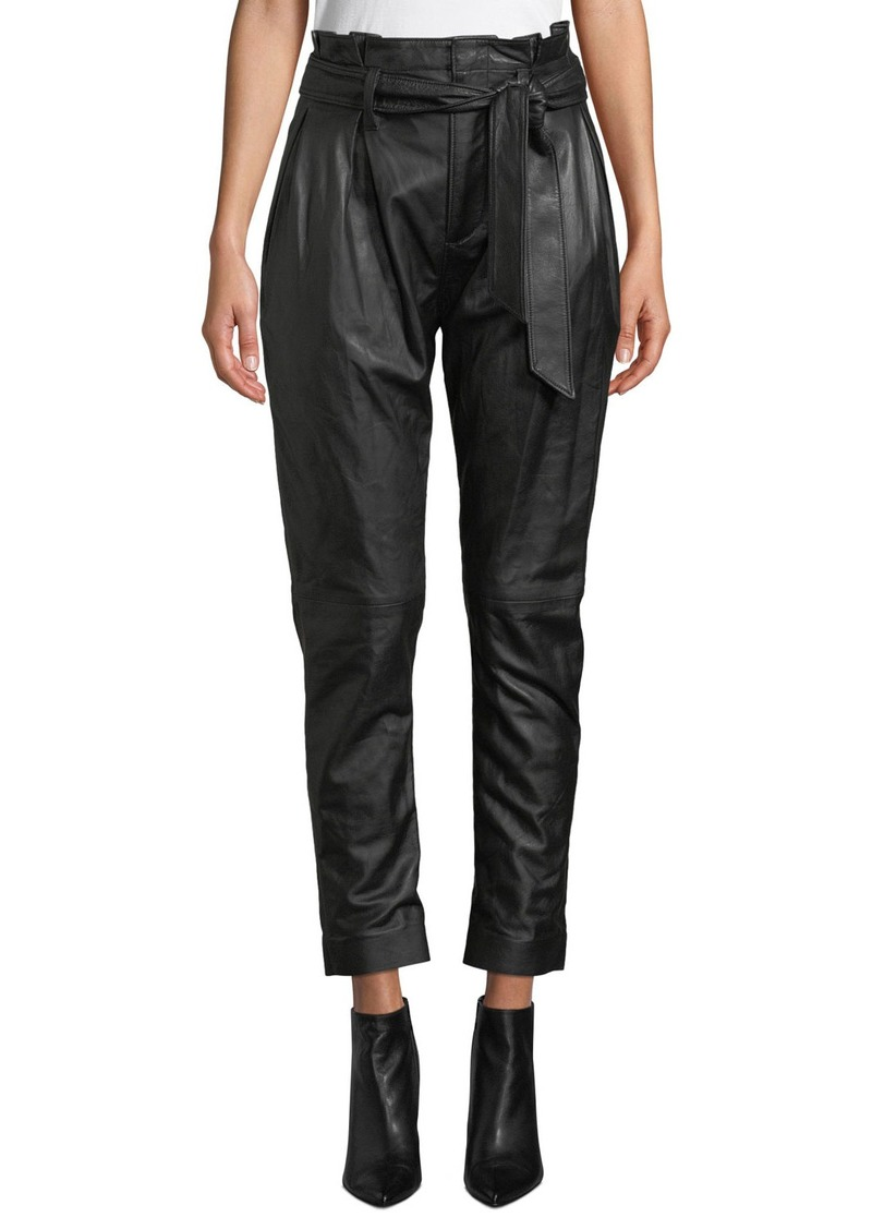 Joie Adorabella High-Waist Belted Leather Pants