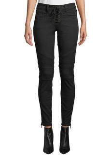 Joie Adorea Skinny Lace-Up Ankle-Zip Moto Pants