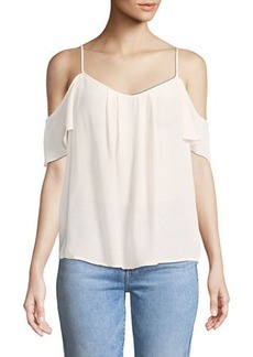 Joie Adorlee Cold-Shoulder Silk Top