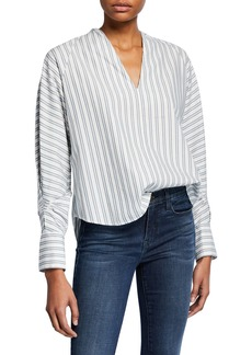 Joie Alessandrina Striped V-Neck Long-Sleeve Top