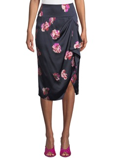 Joie Alphina Front-Drape Floral-Print Knee-Length Skirt