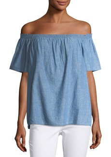 Joie Amesti Off-the-Shoulder Chambray Blouse