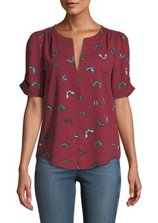 Joie Amone V-Neck Butterfly Print Georgette Top