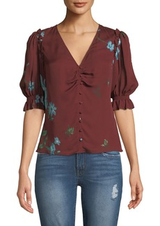 Joie Anevy Floral Silk Button-Front Ruffle Top