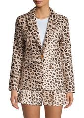 Joie Anilah Leopard Linen Blazer