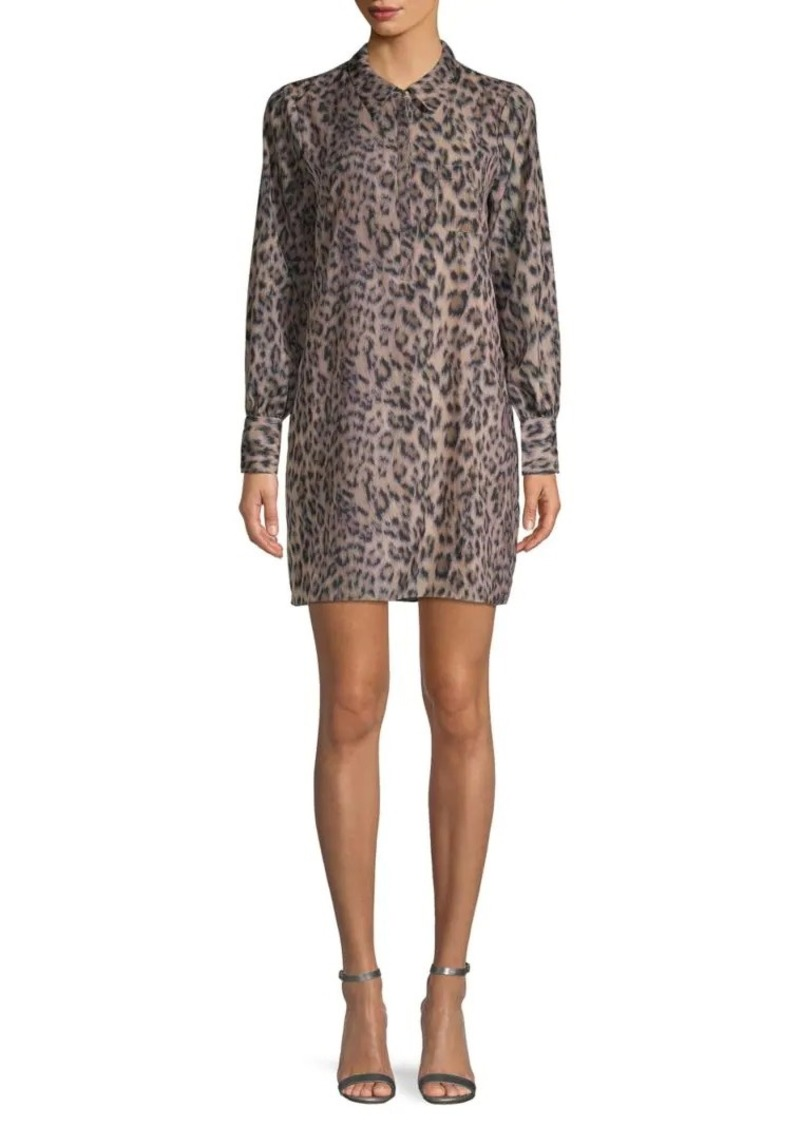 Joie Animal-Print Mini Shirtdress