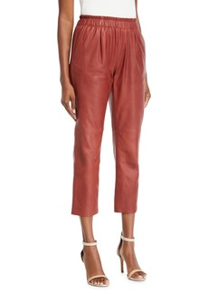 Joie Araona Cropped Leather Jogger Pants