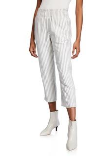 Joie Araona Pinstripe Cropped Straight-Leg Pants