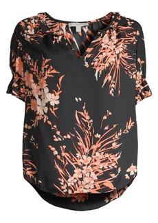 Joie Arlinda Floral Ruffle Sleeve Chiffon Blouse