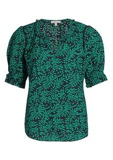 Joie Arlinda Leaf Print Puff-Sleeve Blouse