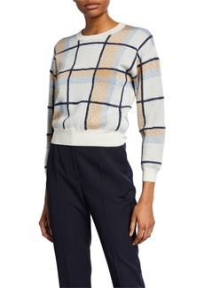 Joie Austine Cropped Check Sweater