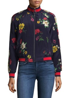 Joie Avariella Botanical Silk Track Jacket