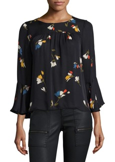 Joie Awilda Floral-Print Bell-Sleeve Silk Blouse