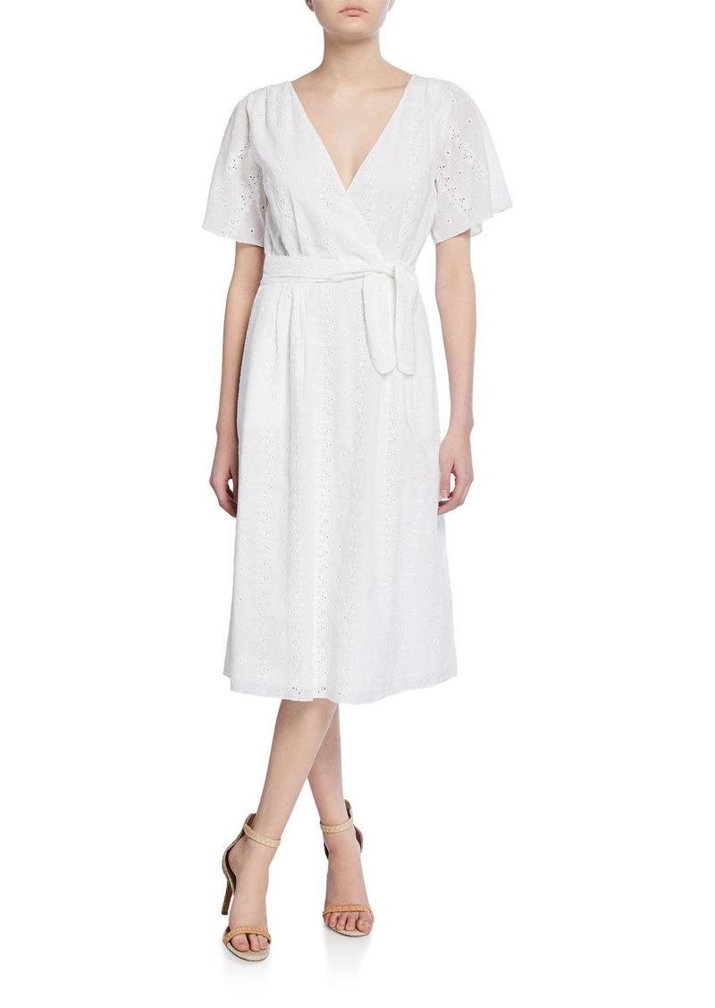 Joie Azariah Tie-Waist Eyelet Midi Dress