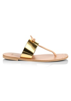Joie Baled Metallic Leather Thong Sandals