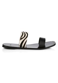 Joie Bannison Flat Zebra-Stripe Calf Hair & Leather Sandals