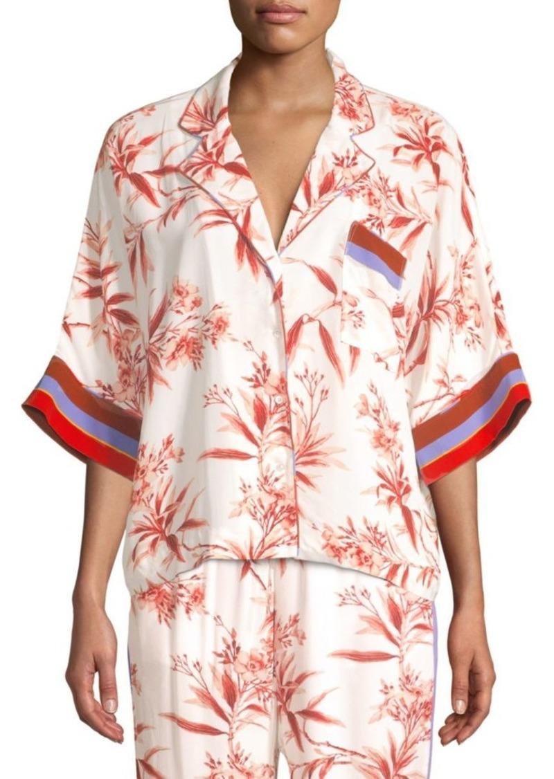 Joie Bayley Floral & Stripe Cropped Camper Shirt
