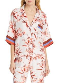 Joie Bayley Tropical Print Stripe Contrast Top
