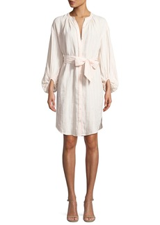 Joie Beatrissa Striped Blouson-Sleeve Shirtdress