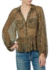 Joie Becki Printed Peplum Silk Blouse