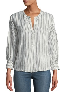 Joie Bekette Striped Linen Button-Front Top