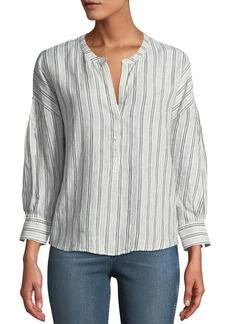 Joie Bekette Striped Linen Button-Front Top
