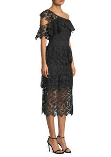 Joie Belisa Lace One-Shoulder Midi Dress