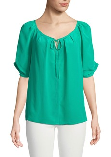Joie Berkeley Flutter-Sleeve Silk Button-Front Blouse