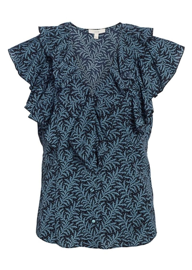 Joie Berton Flutter-Sleeve Print Blouse