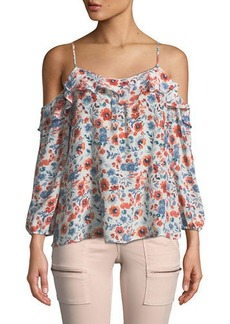 Joie Birtha Cold-Shoulder Floral Blouse