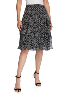 Joie Blissany Geometric-Print Ruffle Skirt