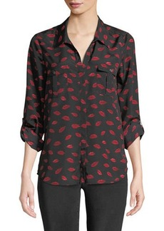 Joie Booker High-Low Printed-Lip Shirt