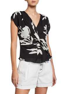 Joie Bosko V-Neck Cap-Sleeve Twisted Silk Top