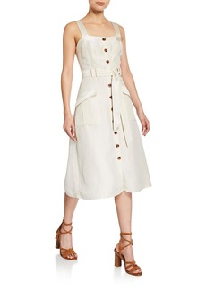 Joie Bourey Linen Utility Midi Dress