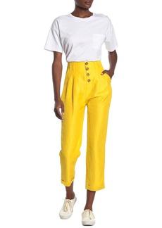 Joie Braden High Waisted Button Linen Blend Pants