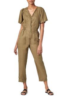 Joie Bramwell Short-Sleeve Linen Jumpsuit