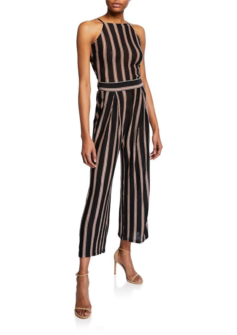 Briselle Striped Self-Tie Back Jumpsuit