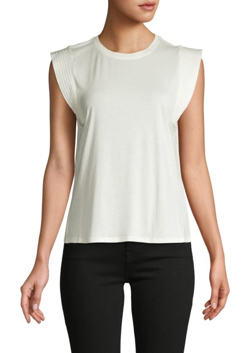 Joie Cap-Sleeve Cotton-Blend Blouse
