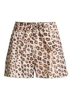 Joie Carden Leopard Linen Tie-Front Shorts