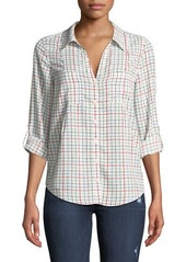 Joie Cartel Checkered Button-Front Blouse