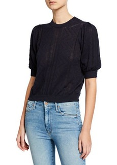 Joie Chamora Geometric Short-Sleeve Cropped Sweater
