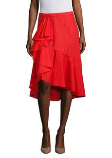 Joie Chesmu Ruffle Poplin Midi Skirt