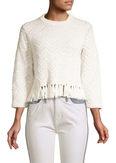 Joie Claudelle Fringed Chevron Sweater
