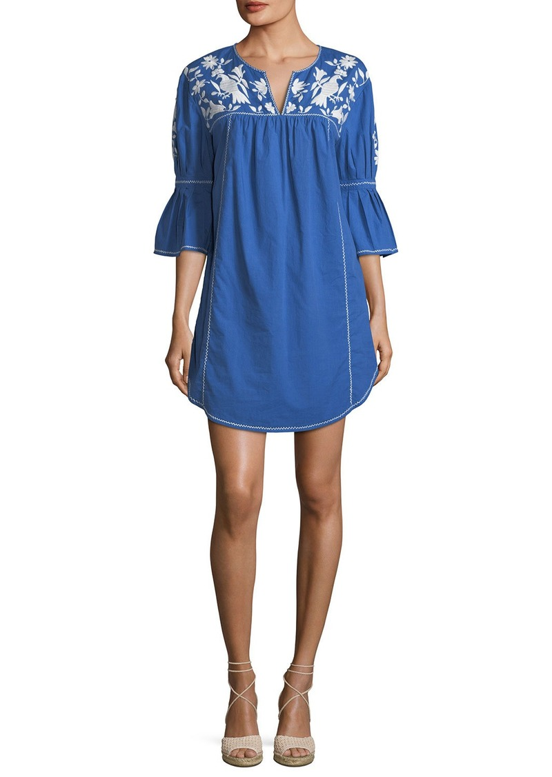 Joie Clodagh Split-Neck Cotton Dress with Floral-Embroidery