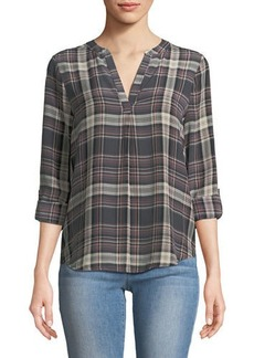 Joie Coralle Plaid Crepe Top
