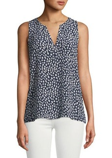 Joie Corette Sleeveless Spotted Silk Blouse