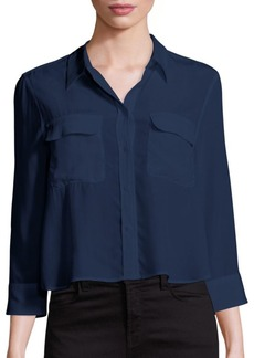 Joie Cropped Three-Quarter Sleeve Signature Silk Blouse